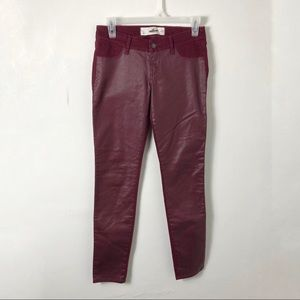 Hollister Burgundy Wax Front Coated Skinny Pants